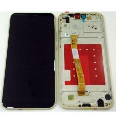 HUAWEI P20 LITE PANTALLA LCD + TACTIL NEGRO + MARCO DORADO ORIGINAL
