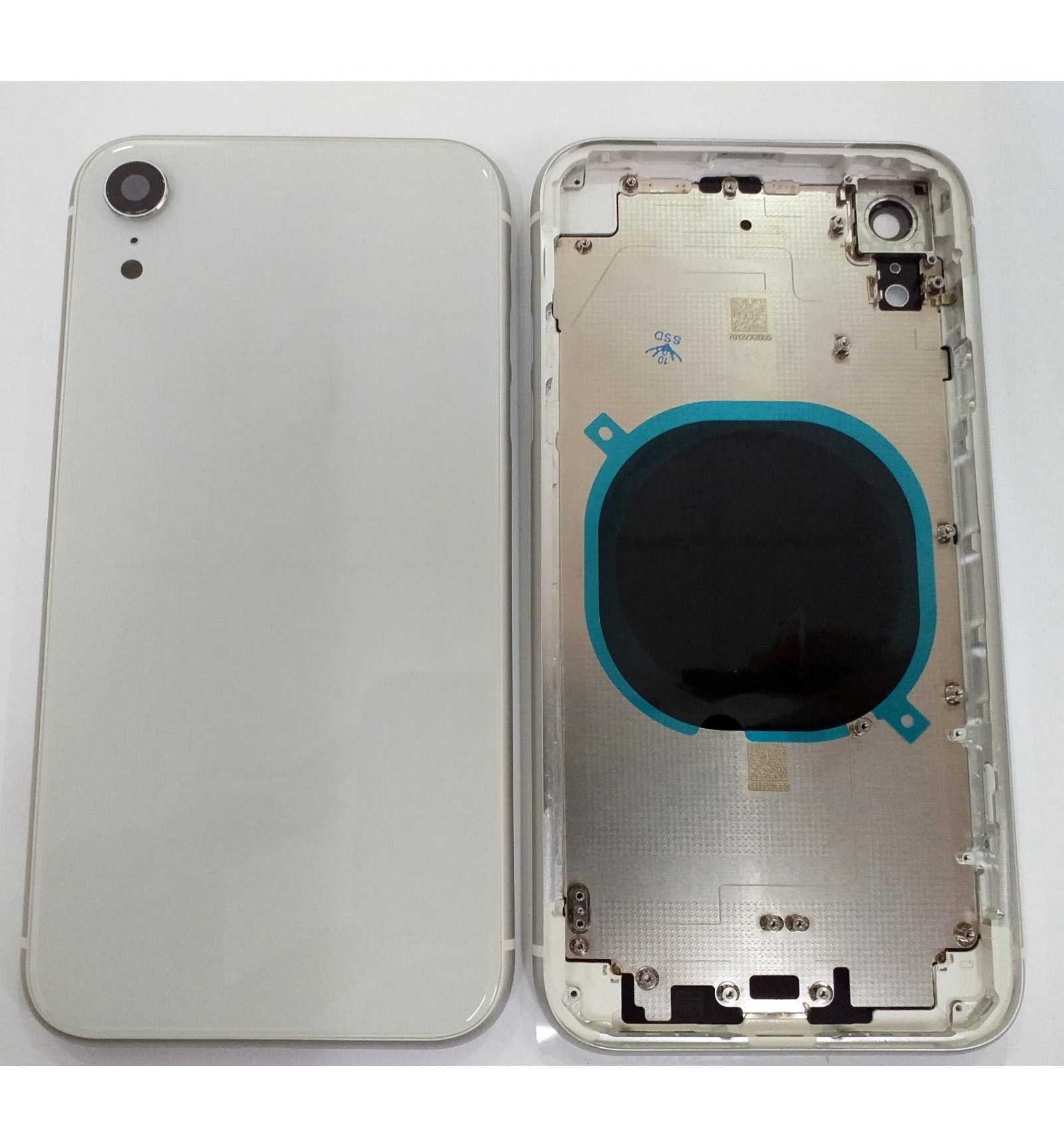 15ab403830f IPhone XR A2105 A2108 carcasa central o marco + tapa trasera o tapa bateria  blanca