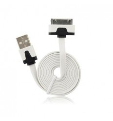 Cable usb plano blanco iPhone 3G 3GS 4G 4S IPOD