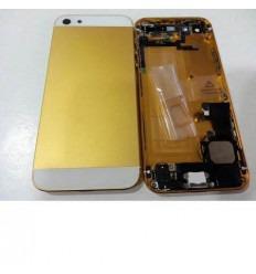 iPhone 5 Carcasa Central + Tapa batería dorado-blanco + comp