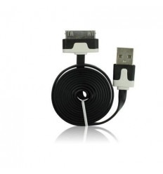 Cable usb plano Negro iPhone 3G 3GS 4G 4S IPOD